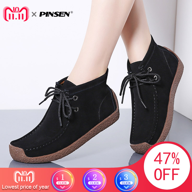 PINSEN 2018 New Women Boots Leather Suede Lace-up Snow Boots Women Winter Warm Plush With Fur Ankle Boots for Women Botas Mujer new women s winter snow boots round head anterior lace up platform botas plush ankle boots women cotton shoes botines mujer 2018