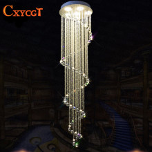 Spiral Crystal Light Fixture Long Crystal Chandelier Light Lustre De Cristal for Staircase, Stairs, Foyer Crystal Stair Lamp(China)