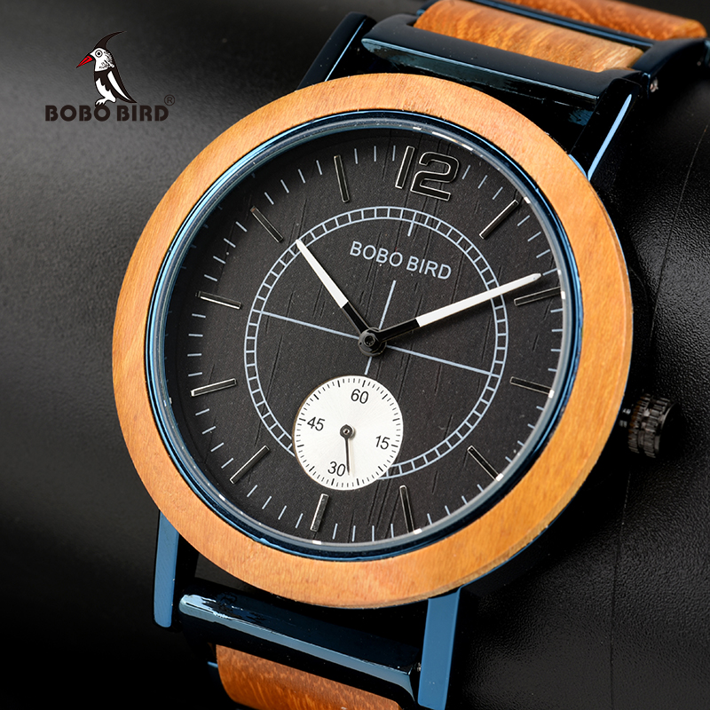BOBO BIRD Wood Watch Men Women Independent Second Dial Quartz Wristwatch Relogio Masculino Customized Gift For Lover R12R13