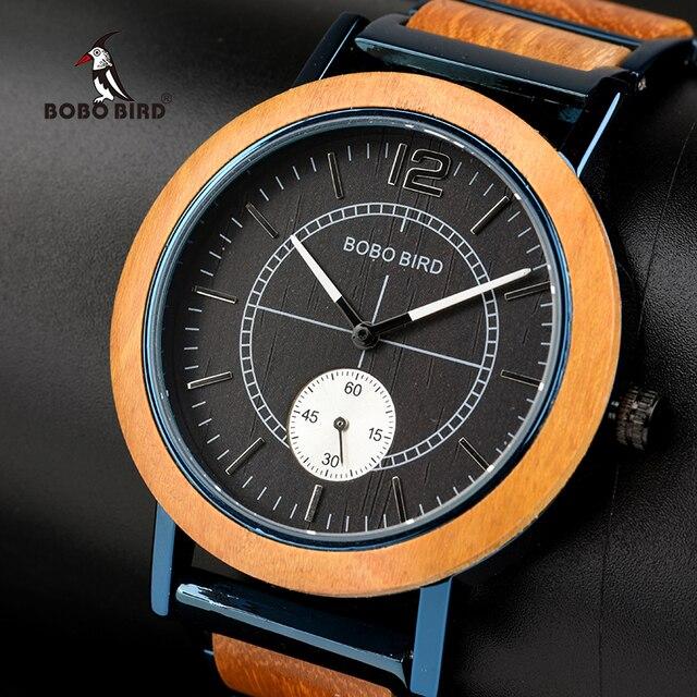 BOBO BIRD Wood Watch Men Women Independent Second Dial Quartz Wristwatch Relogio