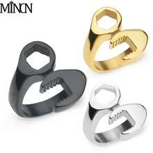 MINCN Wrench Ring Mens Individual Titanium Steel Jewelry gifts for men Gold Silver stainless steel  mens ring