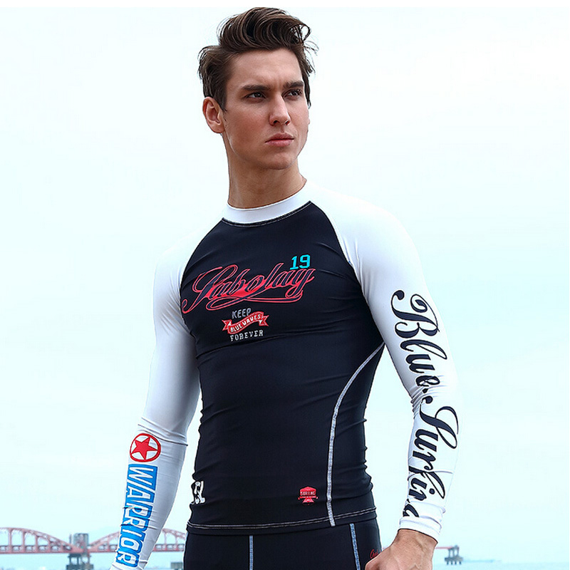 SABOLAY Men Long Sleeved Swimwear Prevent Jellyfish Quick drying Surf UV T shirt Rash Guard Sunscreen Beach Diving Swim Suits