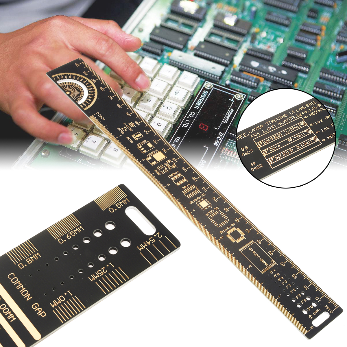 Multifunctional PCB Straight Ruler 25cm 10 inch Measuring Caliper Tool Electronic Resistor Capacitor Chip IC Craft Ruler