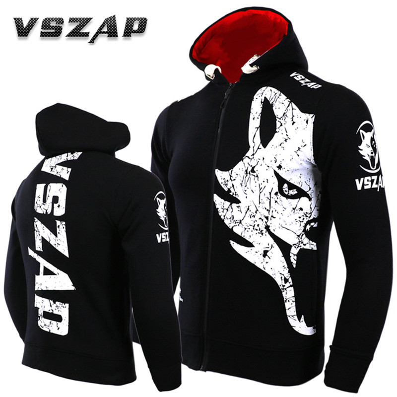 VSZAP GIANT Mens Hoodie Sleeveless Jacket Hoodies MMA Muay Thai Sweatshirts White Wolf Fitness Kickboxing Sporting