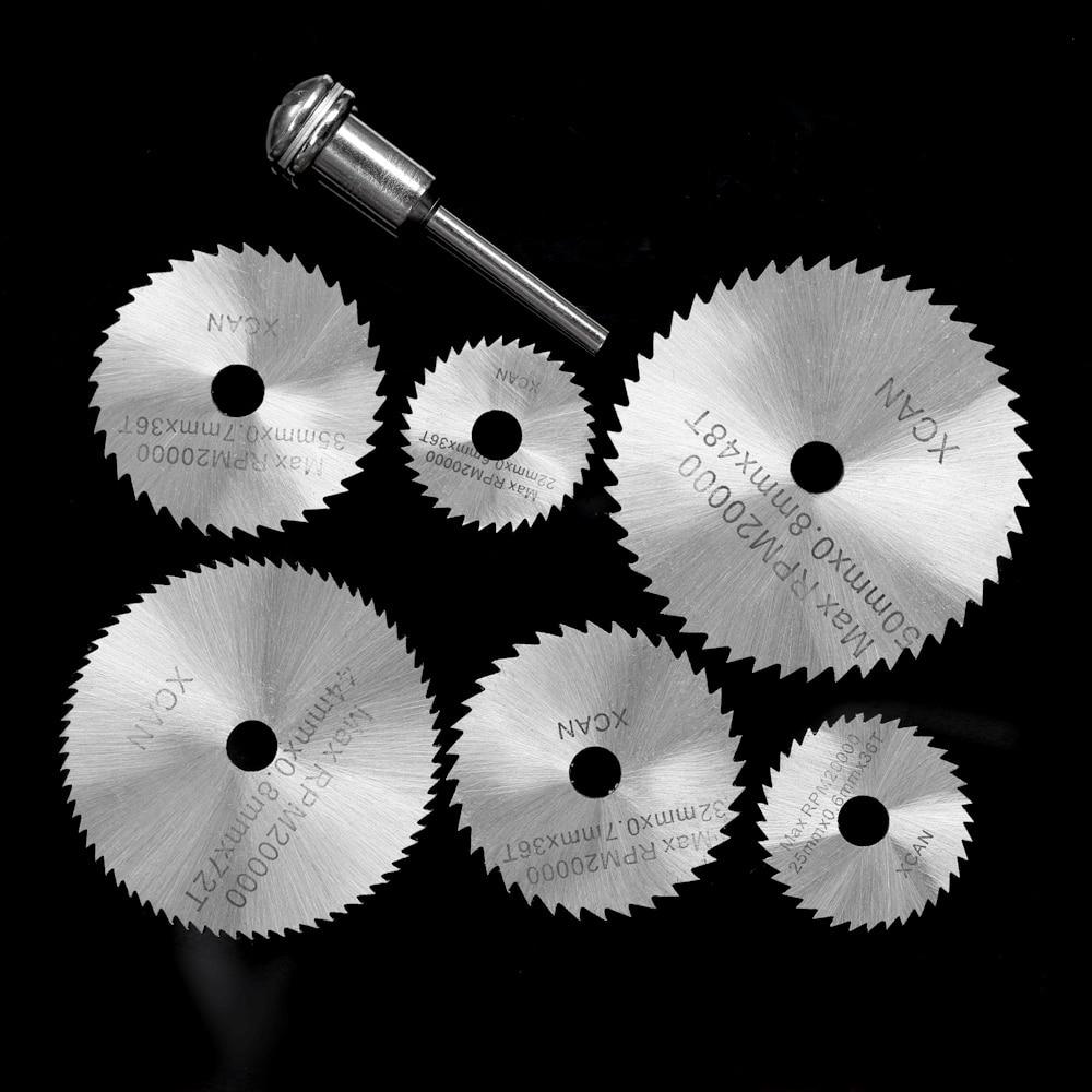 7pcs HSS Mini Circular Saw Blades Rotary Cutting Tools Kit Multi Tool Dremel Accessories +1/8