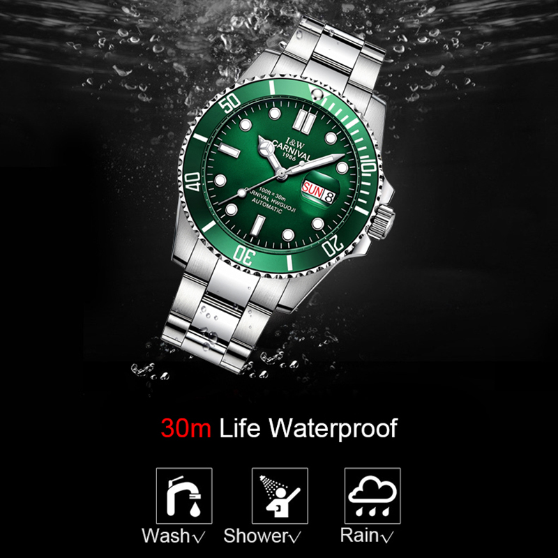 ca7a00dd8f8 Top Brand Luxury CARNIVAL Watch Men GMT Automatic Mechanical Watches  Business Luminous Sapphire Stainless Steel ...