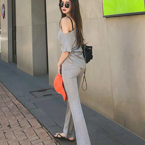 New Female Fitness Women Two Pieces Sets Summer Short Sleeve Cotton Casual T Shirt Wide Legged Pants Sexy Tops High Waist Suits