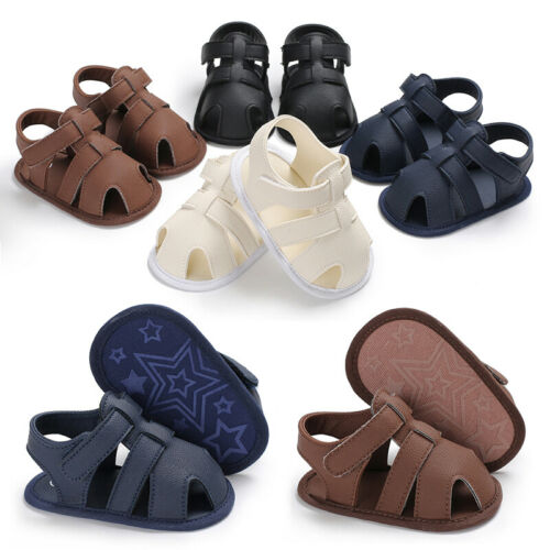 UK Baby Boy Girl Sandals Shoes Summer Slippers Toddler Kids Nursery School Shoes PU Leather Shoes