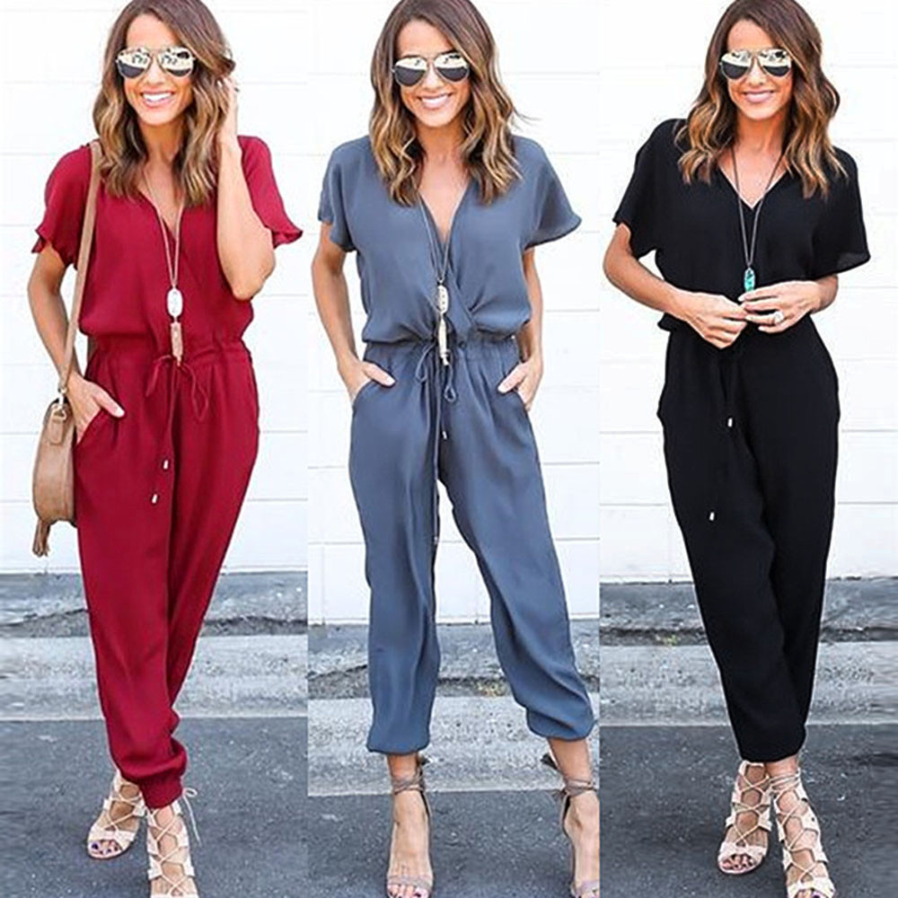 2019 Women Chiffon Summer V-Neck Short Sleeve 3 colors Clubwear Playsuit Bodycon Party   Jumpsuit   body femme one piece top 4.1