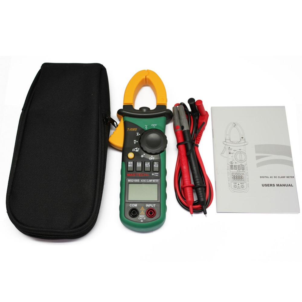 MASTECH MS2108 T RMS AC DC auto RG clamp meter tester max hold backlight inrush vs Free Shipping tm2011 data hold peak hold min max autoranging handheld ac digital clip on table tester clamp meter