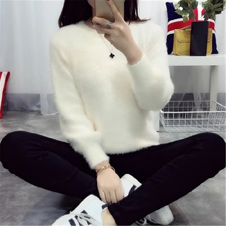 19 Sweater Women Fashion Casual Simple Lantern Sleeve Solid Color Loose Comfort Cashmere Knitting Mohair Fur Pullover USWMIE 2