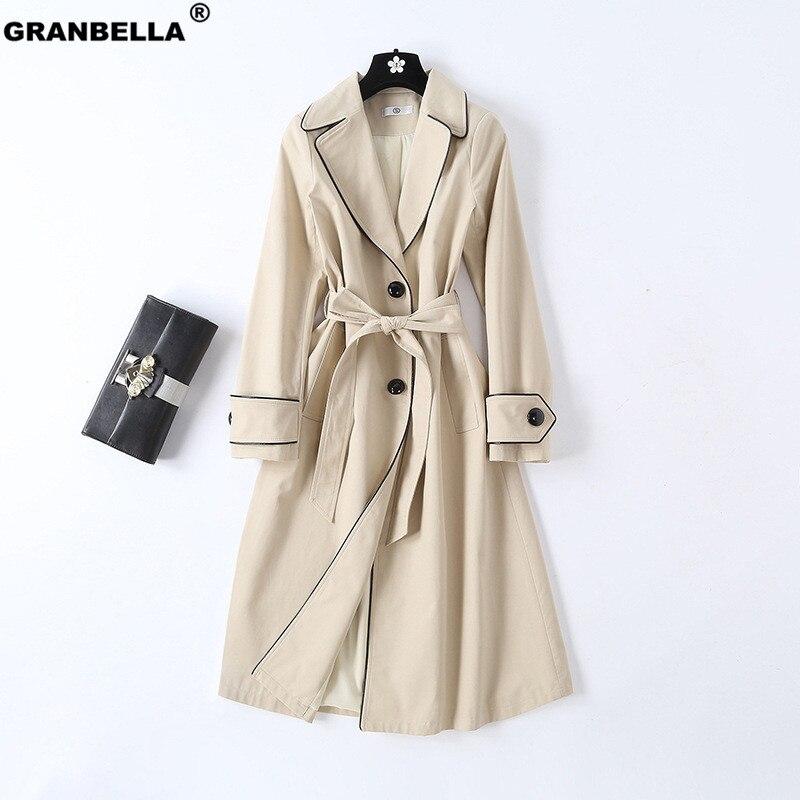 2019 New Arrival Business Women   Trench   Overcoat Elegant OL Style Sashes Windbreaker Coats Female Cloak