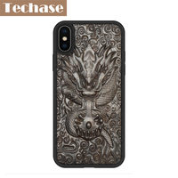 Techase New Design Soft TPU Wooden Phone Cases For iPhone X Case Real Luxury Wood 3D Emboss Back Cover Protective Chinese Style