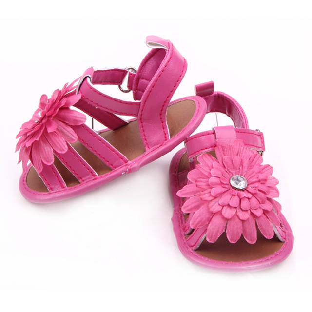 b876db10ad6eab Baby Girl Sandals Brand Summer Princess Shoes Newborn Infant Toddler  Leather Shoes Fashion Diamond Flower Flats