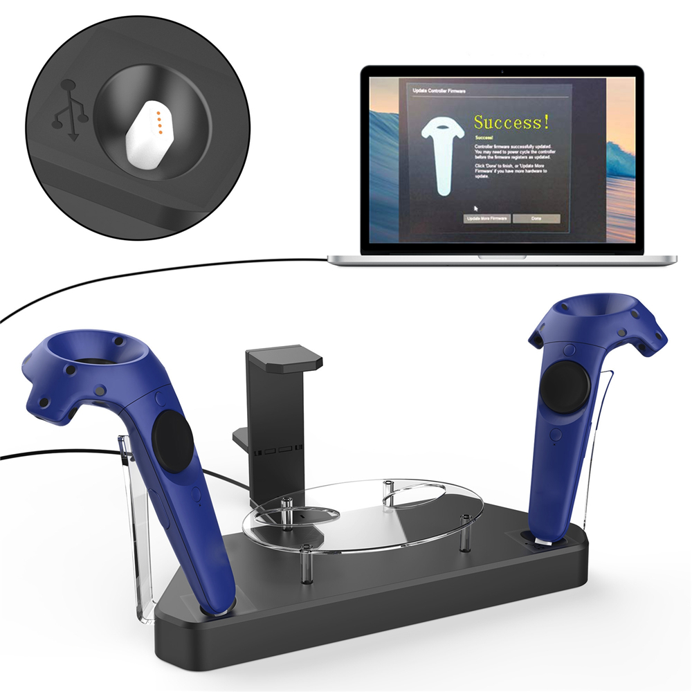 Dual Charger Station for HTC VIVE VIVE Pro Headset and Wireless Controller Magnetic Charging Dock Base