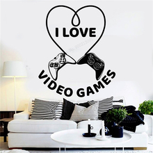 Wall Decoration I Love Video Games Room Sticker Vinyl Art Removeable Poster Beauty Heart Play Quote Decal Mural Joysticks LY300 wall sticker how can i say i love you quotes decoration for livingroom bedroom poster vinyl art removeable mural ly609