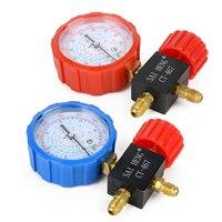 1 stück/2 stücke Klimaanlage Kältemittel Prüfarmatur Blau/Rot Manometer Mit Ventil für R134a R404a R22 R410a Mayitr