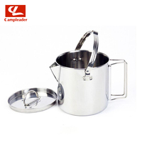 Outdoor Stainless Steel Kettle 1.2L Hiking Camping Teapot Portable Hanging Pot Cookware Coffee Picnic Pot CL224