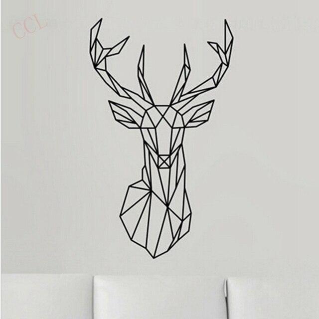 Geometric Deer Head Wall Sticker Modern Home Decor Geometry Animal Series Decals Vinyl Art