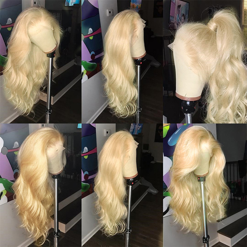 613 Blonde 360 Lace Frontal Wig Pre Plucked With Baby Hair Body Wave 13x6 Blue Lace Front Human Hair Wigs Ever Beauty Remy