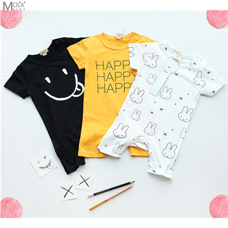 KIKIKIDS Girl Baby Summer Romper Short Sleeve Jumpsuit Happy Face Boys Romper Infant Clothes New Born Boys Fashion KIDS Clothing baby clothing summer infant newborn baby romper short sleeve girl boys jumpsuit new born baby clothes