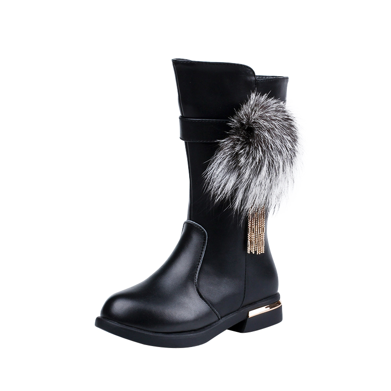 2017 New Girls Boots Leather Princess Winter Boots with Big Fur Ball Fashion Botas for Kids Zipper Fur Lined Red Size 26-37 4pcs new for ball uff bes m18mg noc80b s04g