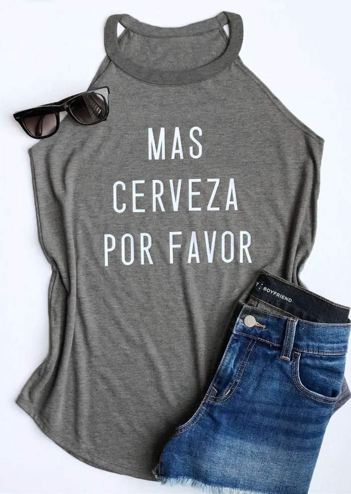 Fashion   Tank     Top   Women Summer Sleeveless Vest Mas Cerveza Por Favor Letter Print Grey   Tank   O-Neck Female Casual Ladies   Tops   Tee