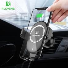 Chargeur sans fil de voiture FLOVEME Qi pour iPhone X 8 10W charge sans fil rapide pour Samsung Galaxy S9 S8 support pour téléphone chargeur dans la voiture