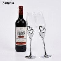 Parfait 1 paire argent en forme de coeur en cristal tasse de Vin Rouge Lunettes grillage lunettes pour mariages champagne gobelet de mariage Tasse P30