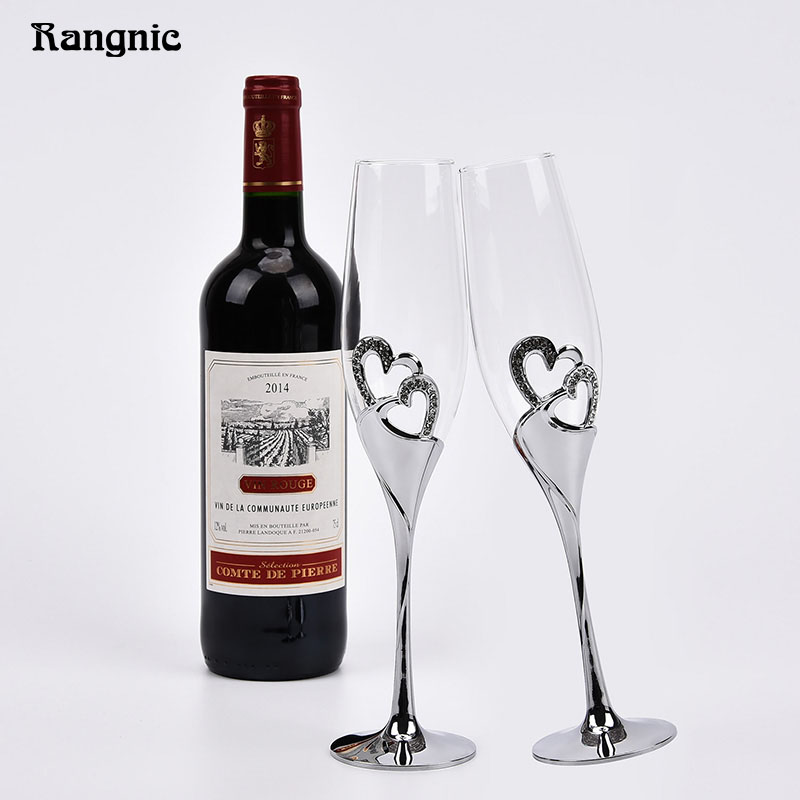 Perfect 1 pair silver heart shaped <font><b>crystal</b></font> <font><b>cup</b></font> Red Wine Glasses toasting glasses for weddings champagne goblet wedding <font><b>Cup</b></font> P30