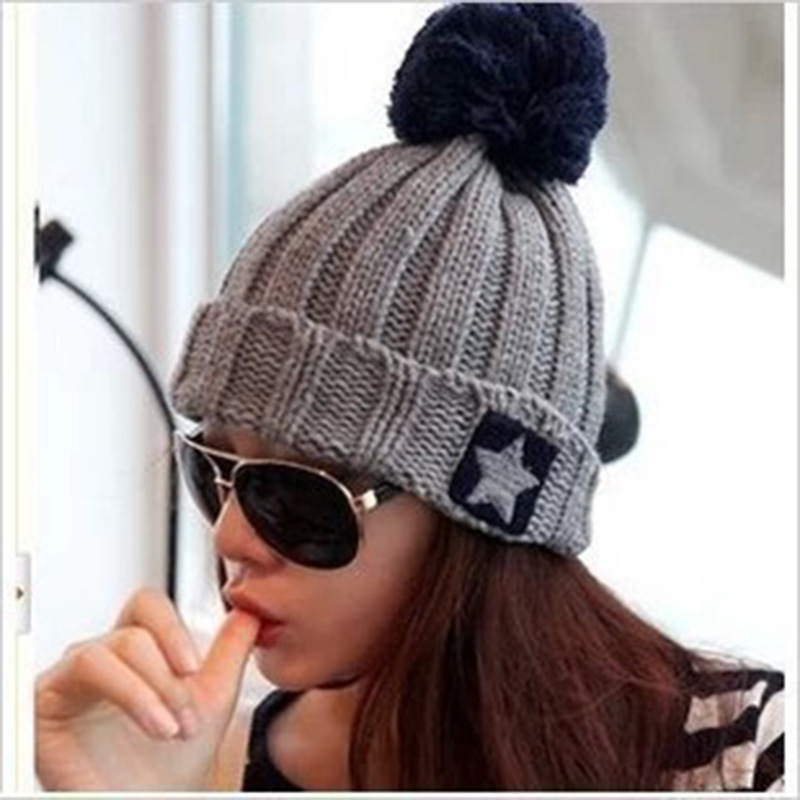 2017 HOT Fashion Ladies Winter Warm Soft Knitted  Beanie Hats Women Knitted Beanies Casual Outdoor Sport Ski Mask Beanie Caps 2016 new beautiful colorful ball warm winter beanies women caps casual sweet knitted hats for women outdoor travel free shipping