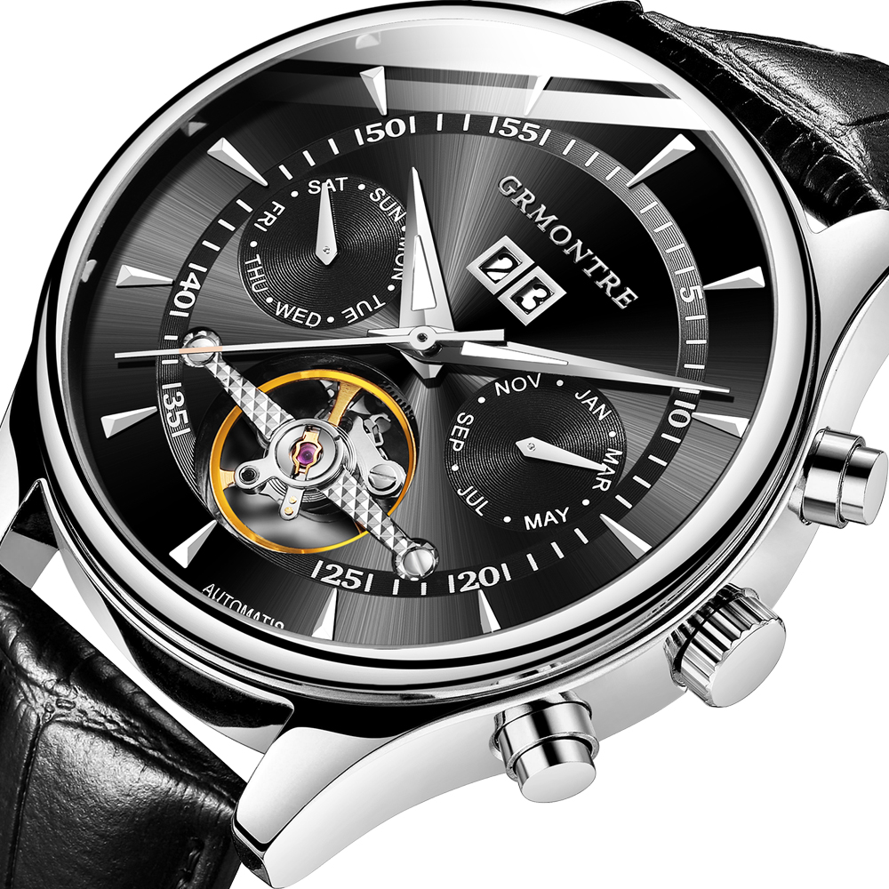 44mm High Quality Watches Relogio Masculino GRMONTRE Automatic Watches For Men Mechanical Skeleton Fashion Watch erkek