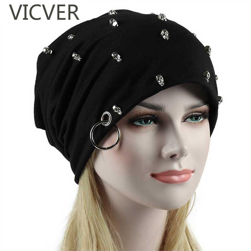 2018 Winter Cap Skull Slouchy   Beanie   Hats For Women Men Punk Rock Ring Hat Hip Hop   Beanies     Skullies   Caps Cotton Knitted Unisex