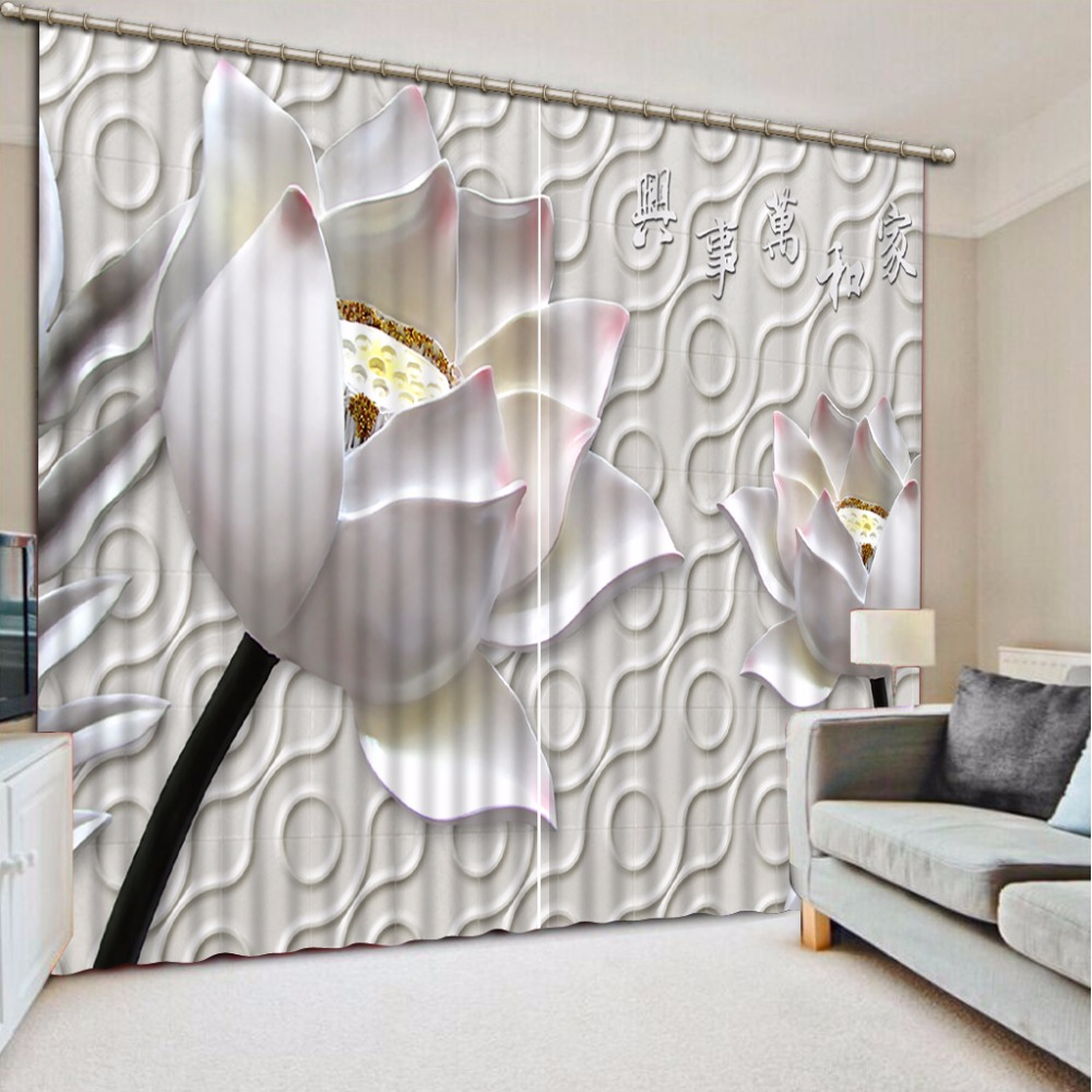 Printing 3D Curtains Lotus Design Blackout Curtains For