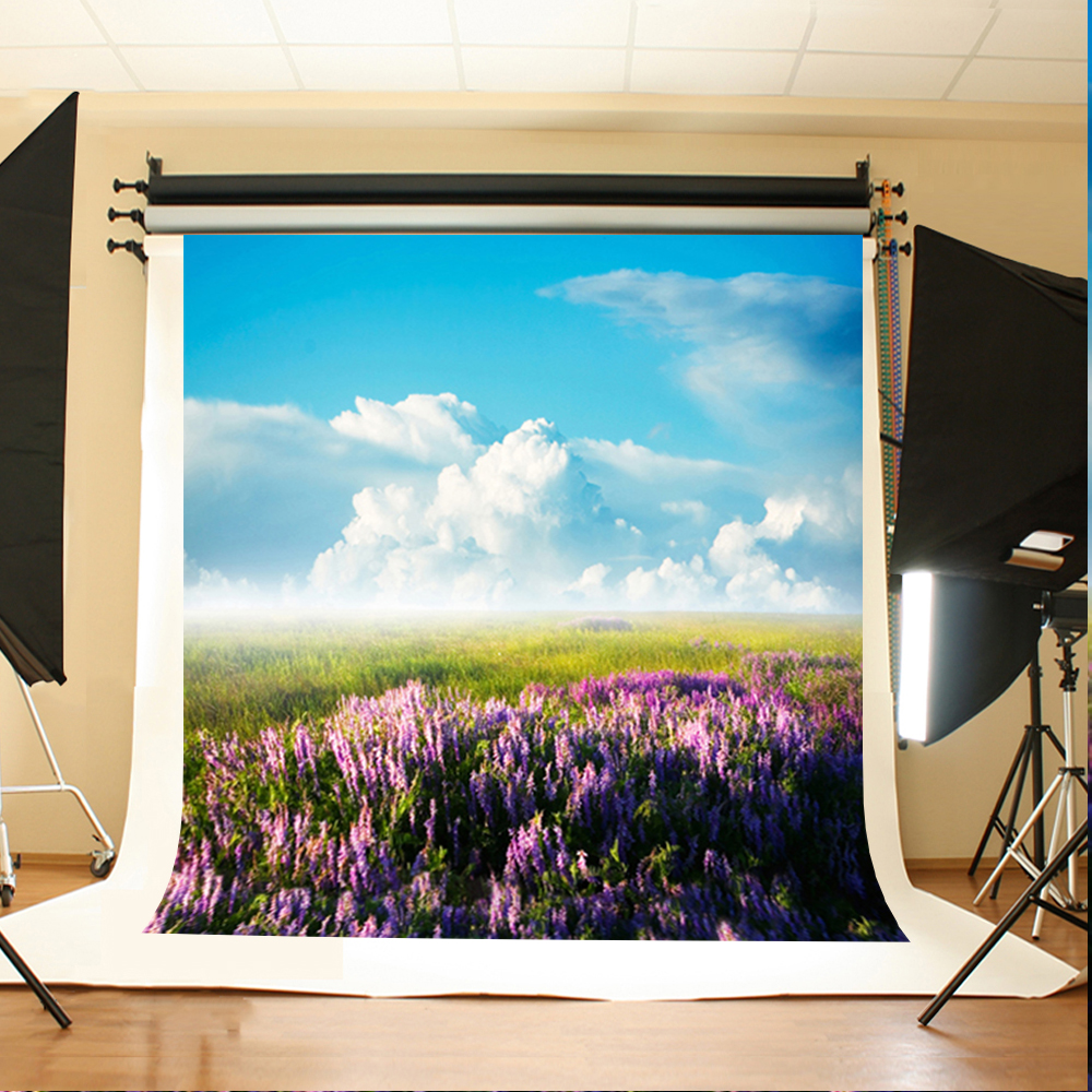 Wedding Photo Background Flowers and Grassland Photo Booth Backdrop Blue Sky and White Clouds Backdrops for Photographic Studio цена и фото