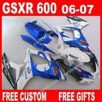 100 Brand New Fairings For Blue White Black SUZUKI 2006 2007 Autocycle GSXR 600 750 K6