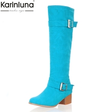 KarinLuna 2019 Large Size 31-43 Slip On Woman Shoes Women Boots Buckles Winter Candy Colors knee-high Snow Boots Woman Shoes
