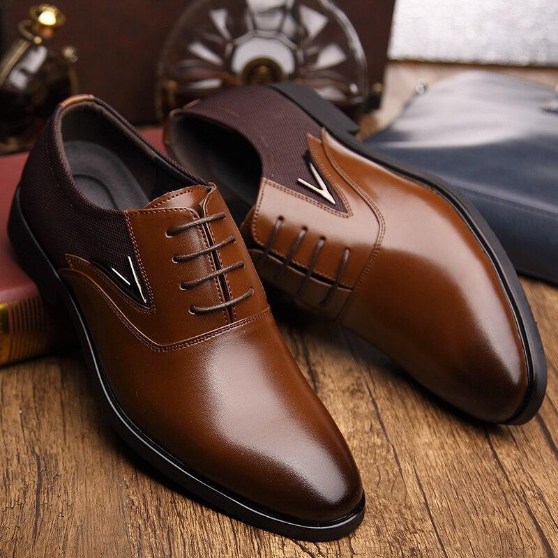 Big Size 48 Men Formal Wedding Party Dress Shoes Black Brown Designer Oxfords Business British Lace-up Men's Flat Shoes