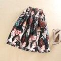 Verão Outono Cintura Alta Tutu Saias Das Mulheres Saias American Apparel Sexy Midi Saia Beleza Moderna Impresso Plus Size saias faldas
