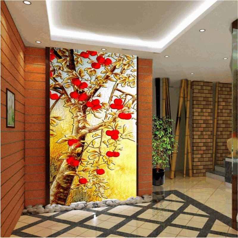 Beibehang large custom wallpapers hd color carvings for Wallpaper for home entrance