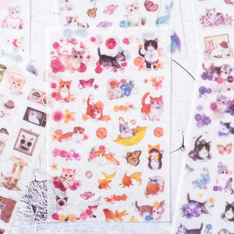 6 Pcs/pack Soft Breeze Cat Paper Sticker Decoration Diary Scrapbooking Label Sticker Kawaii Japanese Stationaries Stickers