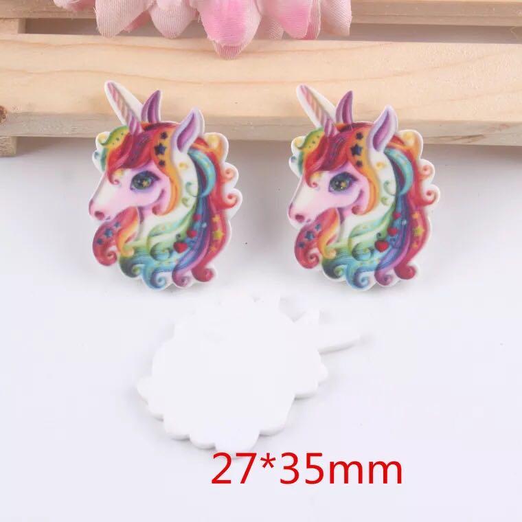 10pcs/lot Cartoon Unicorn Flat Back Resins For Hair Bow Accessories Kawaii Horse Planar Resin DIY Craft Decorations 36559