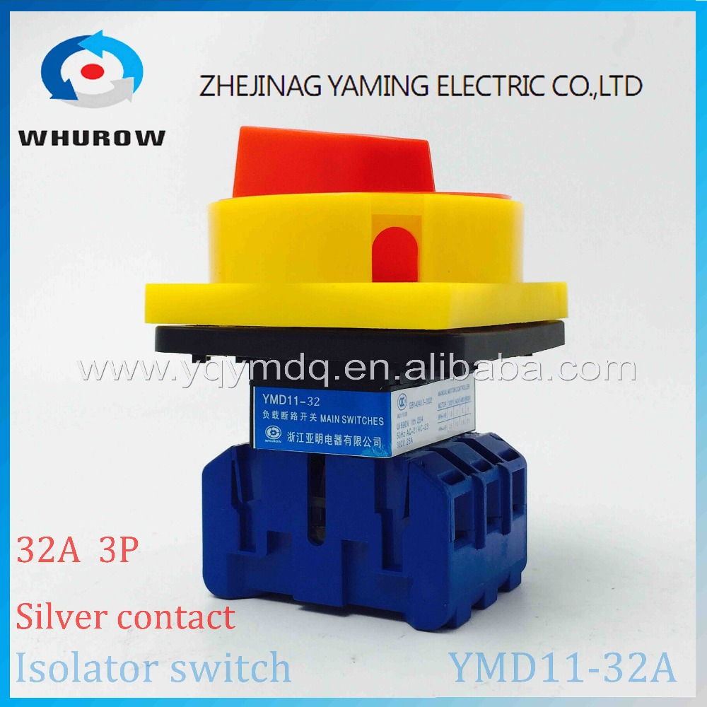 Isolator switch YMD11-32A load break switch universal power cut off switch on-off 32A 3P changeover cam switch 6 sliver contacts original switch on off power