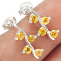Genuine Citrine   Earrings, 100% 925 Sterling Silver,  2.1g, ER2150-C, New