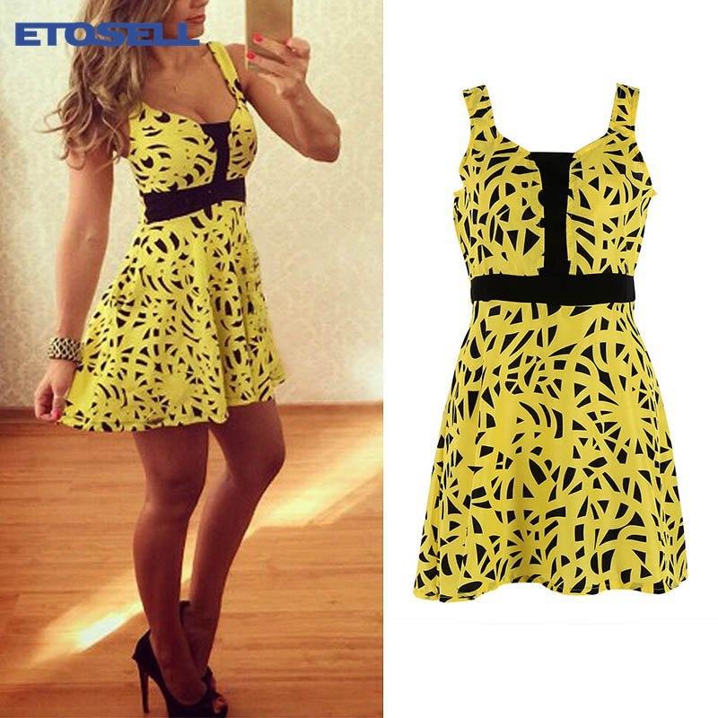 ETOSELL Summer Sexy Women Sleeveless Party Dress Yellow Casual Mini Dress Spaghetti Strap Strapless Dresses