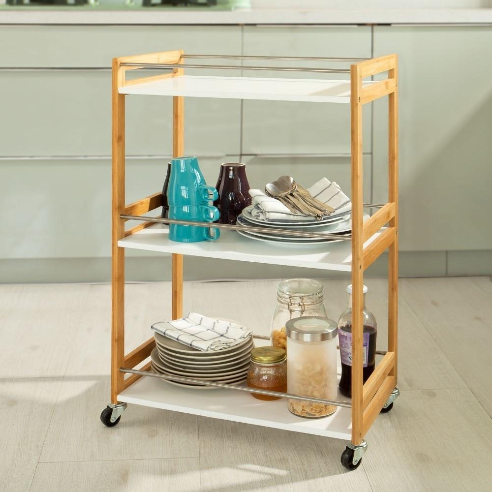 все цены на SoBuy FKW32-WN, Bamboo+MDF 3 Shelves Kitchen Serving Storage Trolley Cart Bathroom Shelf онлайн