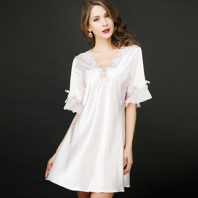 White Silk Sexy Womens nightshirts nightgowns sleepshirt 2018 summer female  long satin nightdress ladies sleepwear nightwear 19c00a3a2