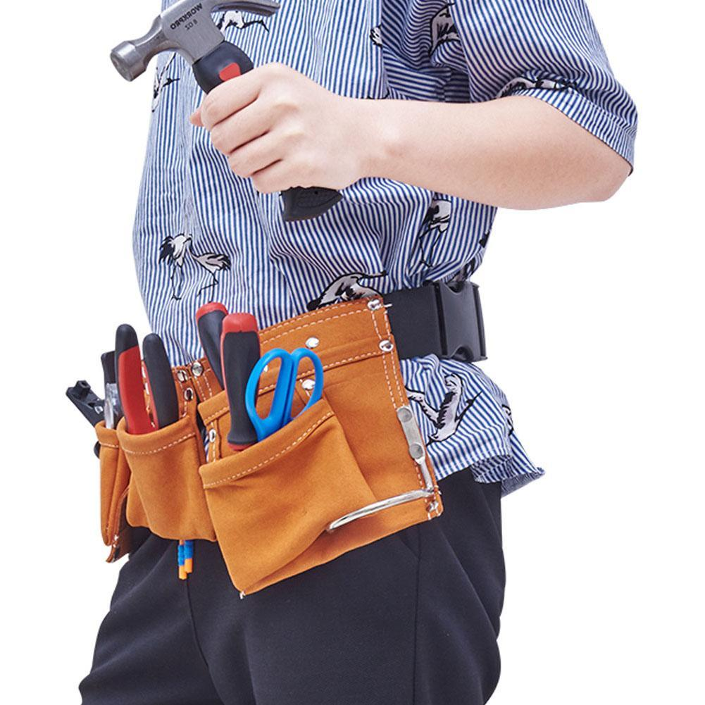 Tool Bag Belt - Screwdriver Tool Children Real Leather Waist Bags Repair Supplies Garden Tools