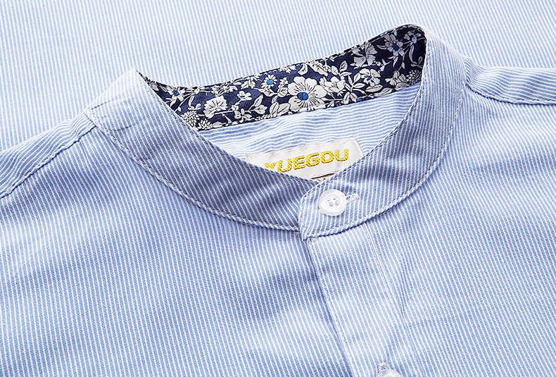 KUEGOU 2019 jesień 100% niebieska bawełna pasiasta koszula mężczyźni ubierają przycisk na co dzień slim fit z długim rękawem dla mężczyzn moda marka bluzka 3155