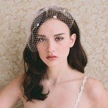 Женская элегантная свадебная вуаль Vinrage, сетчатая вуаль с большим отверстием, маленькая плюшевая волнистая сплошная цветная заколка для волос, корсаж Broo